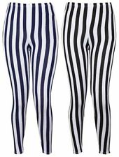 New Ladies Vertical Stripe Print Elasticated Waist Women Patterned Long Legging