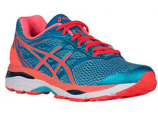 NEW WOMENS ASICS GEL-CUMULUS 18 RUNNING SHOES TRAINERS AQUARIUM / FLASH D-WIDE