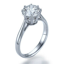 0.68ct F-VS2 NATURAL Diamond Antique Engagement Ring 18K White Gold SIZE 7.75