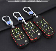 Luminous Intelligent Key Volkswagen car remote key fob black real leather