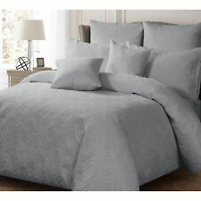 Ashton SILVER Quilt Doona Duvet Cover Set - SINGLE DOUBLE QUEEN KING Super King