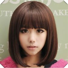Blonde Short Wig Women's Cute Fringe Straight Bob Cosplay Wig Heat Resistant Ful