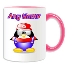 Personalised Gift Silly Mario Mug Money Box Cup Fun Novelty Penguin Plumber Name