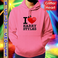 ONE DIRECTION HOODIE - I LOVE HARRY - RED GLITTER HEART - KIDS TEENS ADULTS