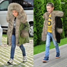 BOYS GIRLS MILITARY FAUX FUR HOODED LONG PARKA JACKET THICK WARM COAT AGE 5-14 Y
