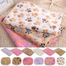 Cat Dog Puppy Coral cashmere Soft Blanket Bed Cushion Pet Small Large Paw Print