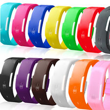 New Kids Mens Ladies Thin Silicone LED Rubber Bracelet Touch Digital Wrist Watch