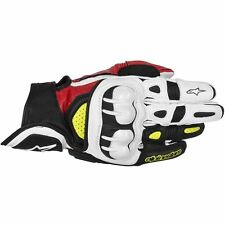 ALPINESTARS GPX Leather Motorcycle Gloves (Black/Red/Yellow) Choose Size