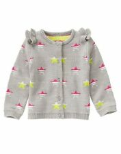 NWT Gymboree SWEATER WEATHER Girls Ruffled Stars Cardigan Sweater 18-24M 2T 3T