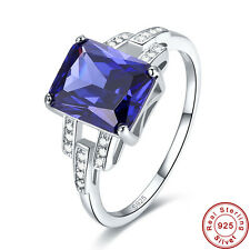 Free Jewelry Box Cocktail Tanzanite 100% S925 Sterling Silver Ring Size 6 7 8 9