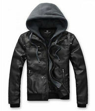 Mens Slim Fit PU Leather Jackets Coats With Hoodies Removeable 4 Size AAAAA