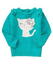 NWT Gymboree SWEATER WEATHER Baby Girl Teal Ruffle Kitty Bow Sweater 12-18 18-24