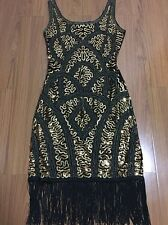 1920s Women's Golden Tassel Dress Gatsby Vintage Sequin Party Gown Size 12-14