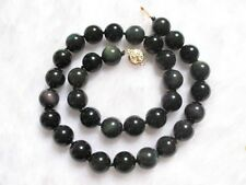 """Black rainbow obsidian 8mm 10mm 12mm round beads necklace 18"""""""
