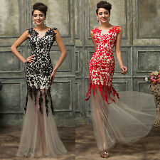 Long Women Formal Wedding Evening Party Cocktail Dress Sexy Lace Prom Ball Gowns