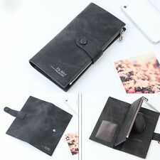 Women Solid Leather Hasp Wallets Zipper Coin Purse Bifold Card Holders Handbag