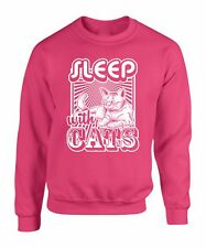 Sweater S Sleep With Cats Sweatshirt T Animal Lover Kitten Cat Funny Gift Pets L