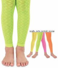 JEFFERIES Footless Ankle Tights Sheer Zig Zag Wave Neon Fun!!!