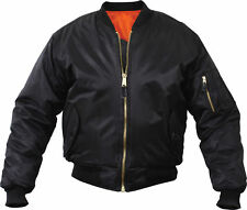 MEN'S BLACK ORANGE BOMBER JACKET MILITARY INSPIRED REVERSIBLE BLACK COAT