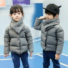 Child Boys Girls Winter Down Padded Snowsuit Quilted Coat Outerwear with Scarf