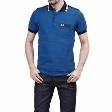 FRED PERRY Royal Blue 100% Cotton Pique Short Sleeve Gingham Oxford Polo T-shirt