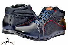 Mens Buffalo Leather Handmade Sports Shoes Blue Boot Winter Autumn Lace Up Warm