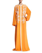 $3790 New Oscar de la Renta Orange  Embroidered Silk Kaftan Caftan Gown DRESS