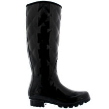 Ladies Quilted Tall Gloss Rain Winter Festival Snow Wellington Boots All Sizes