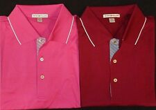 NEW MEN'S PETER MILLAR S/S TIPPED SOLID LISLE POLO GOLF SHIRT, LARGE, PICK COLOR