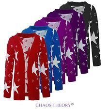 Ladies Womens Star Printed Plus Size Jumper Long Sleeves Open Knitted Cardigan