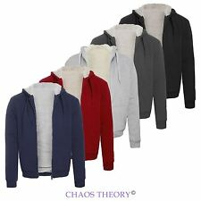 Mens Fleece Fur Bomber Hooded Coat Zip Up Jacket Hoodie Sweatshirt