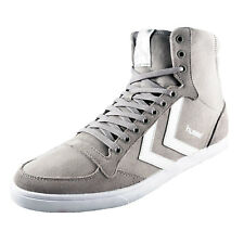 Hummel Mens Slimmer Stadil High Classic Retro Trainers Dove Grey AUTHENTIC