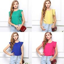 Candy Loose Leisure Womens Lady Chiffon Short Tulip Sleeve Blouse Tops T Shirt