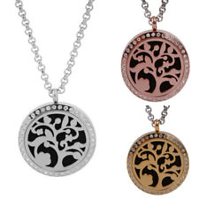 Stainless Steel Rhiestone Hollow Tree of Life Aromatherapy Pendant Necklace