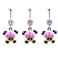 Cupcake Skull Bones Pink Clear Blue Belly Ring CZ Naval Dangle Body Jewelry