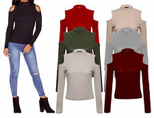 Womens Turtle Neck Ribbed Ladies Long Sleeve Cold Cut Shoulder Jumper Top