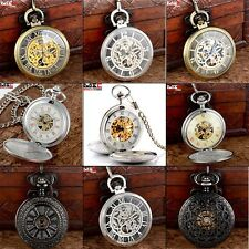 New Skeleton Vintage Steampunk Mechanical Pocket Watch Pendant Windup Mens Gift
