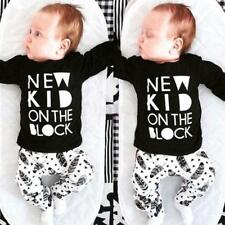 Newborn Toddler Baby Boys Girls Clothes T-shirt Tops+Pants Outfit Set 0-3Years