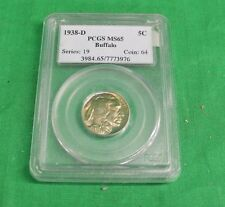1938-D PCGS Graded Buffalo Nickel Beautiful Color Toning bronze Color