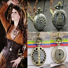 Antique Vintage Bronze Steampunk Chain Quartz Pendant Pocket Watch Necklace LM