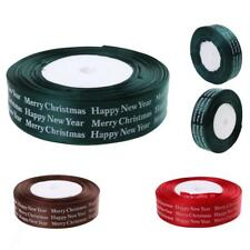 25yds 26mm Satin Ribbon Christmas Gift Wrapping Happy New Year Merry Christmas