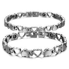 Stainless Steel Love Heart Magnetic Therapy Couples Link Bracelet Pain Relief