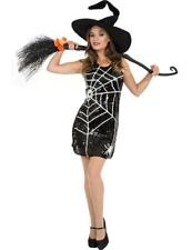 Ladies Witch Dress w Hat and Broom Halloween Fancy Dress Costume