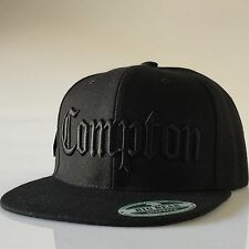 Compton Snapback Hats Adjustable Hat Flat Bill 3D Embroidery Baseball Cap Black