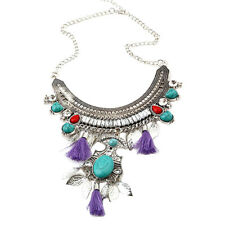 Retro Turquoise Leaf Tassel Statement Necklace Chunky Bib Bubble-Antique Silver
