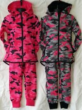 Boys Girls Camo Camouflage Tracksuit Jogging Bottoms & Hoodie Sports Jog Suits