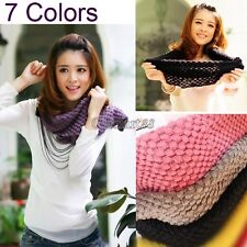 OK Girls Corn Knited Hood Neck Circle Cowl Wool Scarf Shawl Wrap Loop Warm New