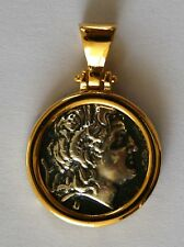 ALEXANDER THE GREAT MEDIUM COIN PENDANT & ITALY CHAIN 925 STERLING SILVER C 1151