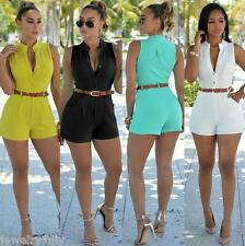 Women's Sexy Sleeveless Jumpsuit Bodycon Short Pant Club Party Playsuit & Belt