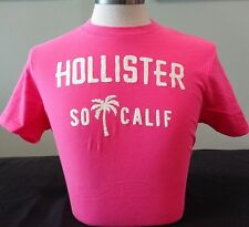 NEW MENS HOLLISTER S/S GRAPHIC T-SHIRT, PINK, SIZE LARGE, ABERCROMBIE & FITCH